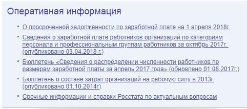 Подраздел «Оперативная информация» на сайте www.gks.ru